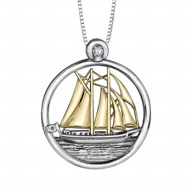 STERLING SILVER 10K YELLOW GOLD  SAILBOAT .03CT GLACIER FIRE CANADIAN DIAMOND PENDANT