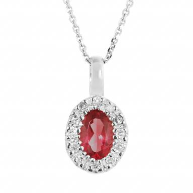 10K White Gold Ruby & 0.05CTW Diamond Halo Pendant