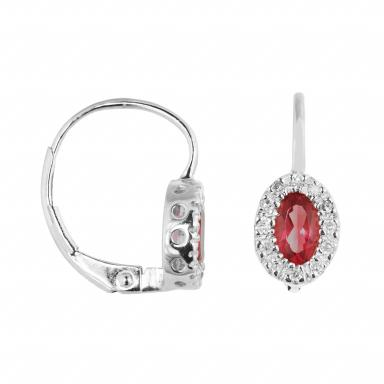 10K White Gold Ruby & 0.10CTW Diamond Halo Earrings