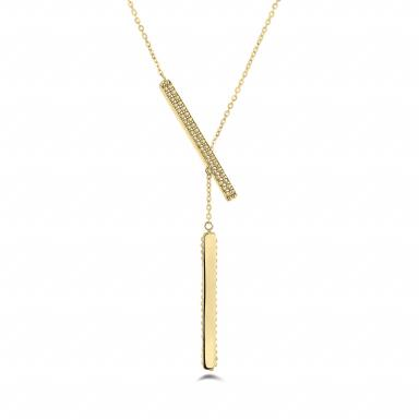 """10K Yellow Gold 18"""" Bar Necklace"""