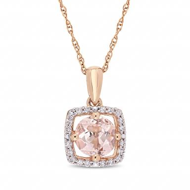 Julianna B 10K Pink Gold Diamond and Morganite Fashion Pendant with Chain