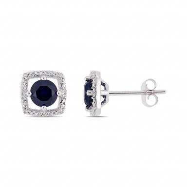 Julianna B 10K White Gold Diamond and Created Blue Sapphire Earrings