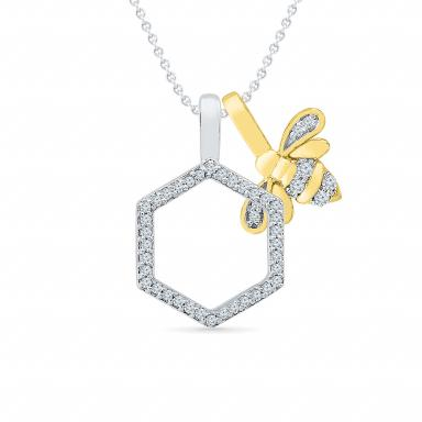Sterling Silver & 10K Yellow Gold Diamond Bee Pendant