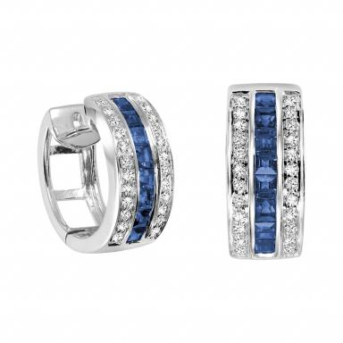 10K WHITE GOLD .18CT DIAMOND & BLUE SAPPHIRE EARRINGS